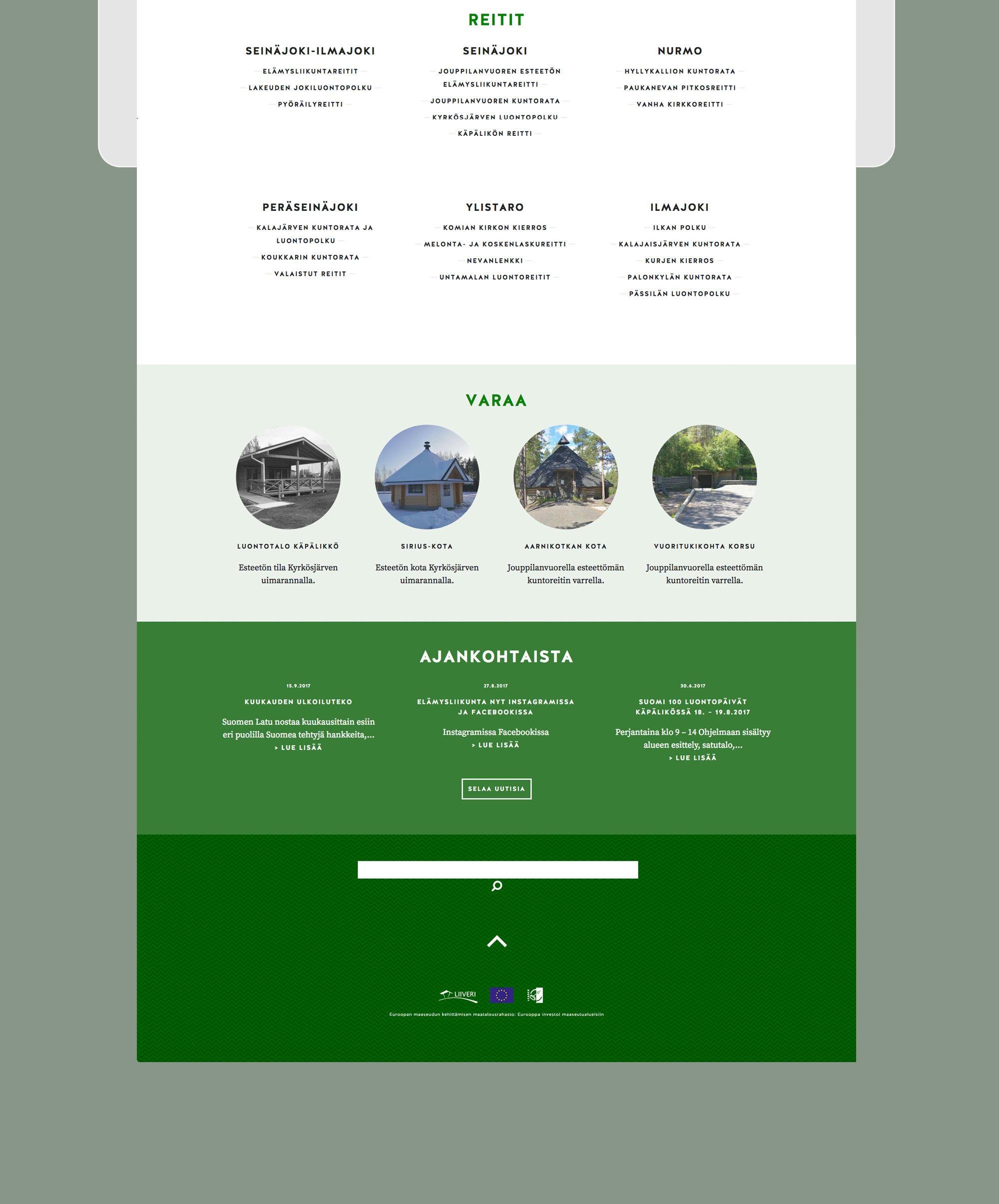 Lakeuden elämysliikunta: Landing Page